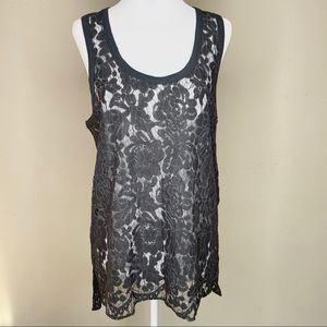 Chaser Lace Muscle Tank Charcoal Grey Small NWT